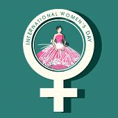 Illustration of young beautiful girl in feminine symbol on green background, concept for International Women's Day celebrations.
