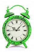 Vintage alarm clock. Isolated on white background