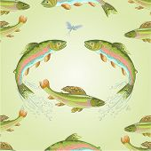 image of carnivores  - Seamless  texture  American trout and ephemera carnivore jumps vector illustration - JPG