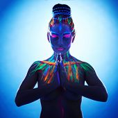 picture of namaste  - Studio shot of fantasy woman with hands in Namaste prayer pose - JPG