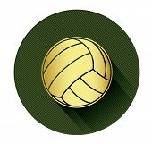 Golden Volleyball ball icon with long shadow effect