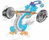 dragon weight lifting cartoon