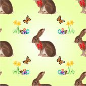 Seamless Texture Easter Hare With Butterflies And Daffodil Vector
