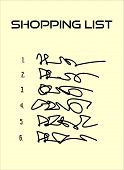 Shopping List With Six Items On Beige Paper