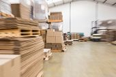 Interior of warehouse with cardboard boxes