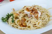 pic of carbonara  - Pasta carbonara with sauce and bacon served thyme - JPG