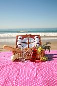 Постер, плакат: Picnic on the beach A typical Laguna Beach California picnic with the Pacific Oceans Gentle Tide ro