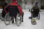 stock photo of paralympics  - The Paralympic curling training wheelchair curling - JPG