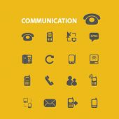 communication, connection, phone, smartphone, mobile isolated flat icons, signs, symbols illustrations, images, silhouettes on background, vector