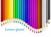 Color Pencils In Arrange In Color Row With Copyspace
