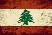 Lebanese flag. Grunge background. Vector illustration