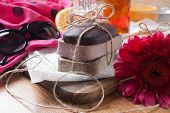 Three Piece Of Natural Handmade Soap. Chocolate, Orange And Scrub Soaps