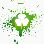 St Patrick Day Vector Illustration with Green Paint Drops
