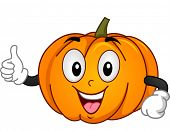 Mascot Illustration of a Pumpkin Giving a Thumbs Up