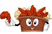 Mascot Illustration of a Bucket of Buffalo Wings