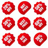 Realistic red discount stickers set. Vector illustration.