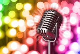 picture of karaoke  - Retro microphone on bright background - JPG