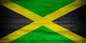 pic of jamaican flag  - Jamaica flag or Jamaican banner on wooden texture - JPG