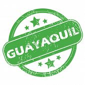 image of guayaquil  - Round green rubber stamp with name Guayaquil and stars - JPG