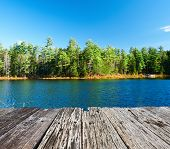 picture of dock a pond  - Pond in White Mountain National Forest - JPG