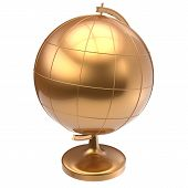 image of geography  - Globe golden blank planet Earth global geography school studying world cartography symbol icon yellow gold - JPG