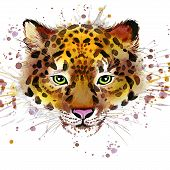 Постер, плакат: Leopard illustration with splash watercolor textured background