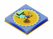 picture of isometric  - Isometric camping on the beach - JPG