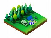 foto of isometric  - Isometric forest camping - JPG