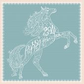 image of carousel horse  - Christmas lace card with gold horse silhouette - JPG