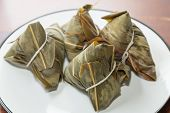 stock photo of chinese wok  - Zongzi in a plate - JPG