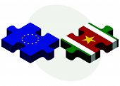 stock photo of suriname  - European Union and Suriname Flags in puzzle isolated on white background - JPG