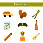 Set of flat colorful icons on Cuba theme poster