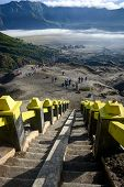 picture of stairway  - the stairway leading to the rim of Mount Bromo in East Java Indonesia - JPG