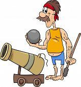 image of cannonball  - Cartoon Illustration of Funny Pirate Character with Cannon and Cannonball - JPG