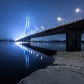 pic of kiev  - South bridge in winter at night - JPG