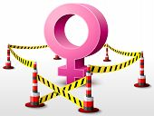 picture of safety barrier  - Dangerous woman sign surrounded barrier tape - JPG