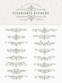 stock photo of divider  - Set of flourishes calligraphic elegant ornament dividers  - JPG