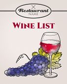 image of wine grapes  - Hand drawn wine list with grape and wine - JPG
