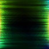 picture of glowing  - Green glowing light stripes vector abstract background - JPG