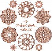 pic of mehndi  - Vector doodle circles set in indian mehndi style - JPG