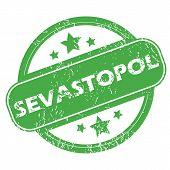 stock photo of sevastopol  - Round green rubber stamp with name Sevastopol and stars - JPG