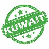 image of kuwait  - Round green rubber stamp with name Kuwait and stars - JPG