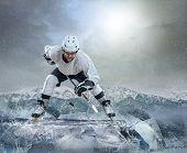 pic of ice hockey goal  - Ice hockey player on the ice - JPG