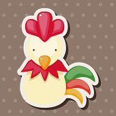 stock photo of roosters  - Chinese Zodiac Rooster Theme Elements - JPG