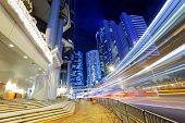 image of hong kong bridge  - hong kong traffic at night - JPG