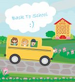 stock photo of bus driver  - school bus heading to school with happy children  - JPG