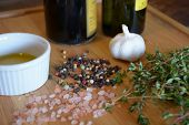 foto of peppercorns  - olive oil in a ramekin dish - JPG
