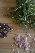 picture of peppercorns  - overhead view of thyme - JPG