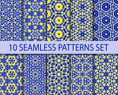stock photo of ten  - Set of geometric seamless patterns - JPG