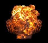 image of nuke  - explosion dynamite fire bomb in dark isolate - JPG